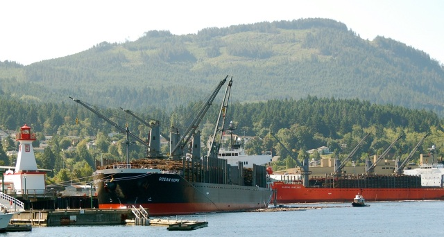 Ships loaded with raw logs for China