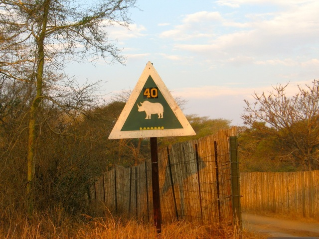 Rhino deterrent bridge ahead sign